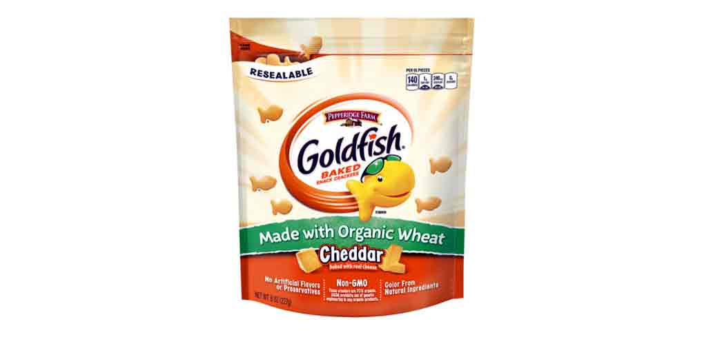 The classic goldfish snack made with organic wheat