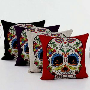 Sugar Skull Linen Pillow Cushion Covers