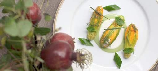 Squash blossoms from Le Coucou, one of GAYOT's Best New Restaurants in the U.S. 2017
