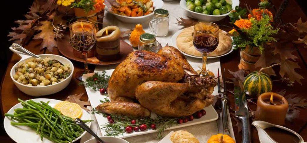 A Thanksgiving dinner feast