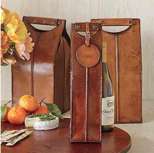 Gump's San Francisco Leather Wine Bottle Carriers