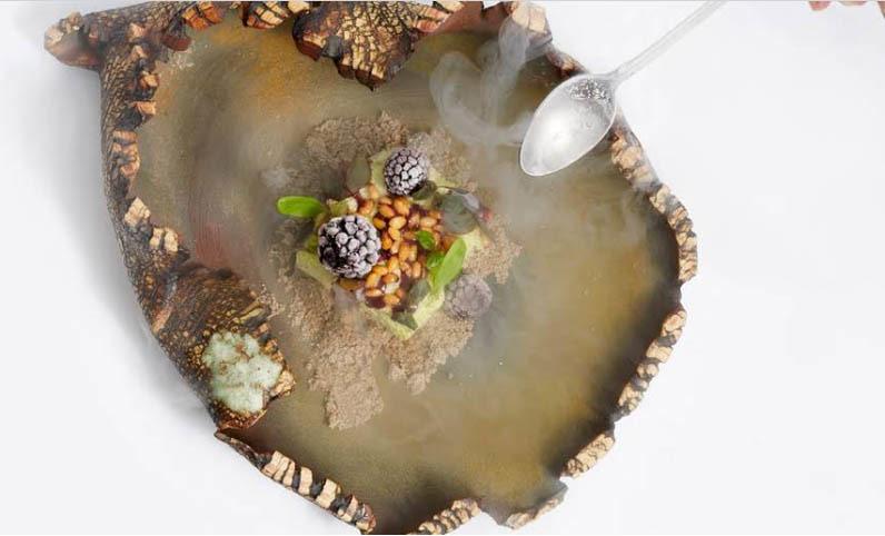 "Reconstituted ""blackberry"", sorrel mousse, pine nuts   Atelier Crenn   Chef Dominique Crenn   San Francisco"