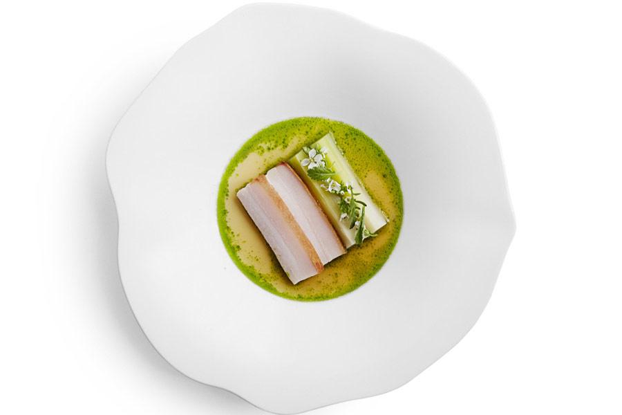 Atera's porcelet with leek, parsley, white miso and pork bone dashi