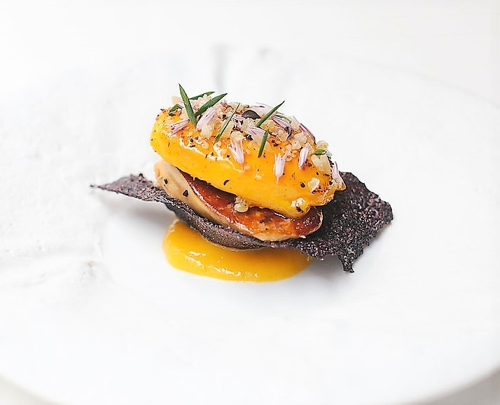 Michael Mina's glazed Egyptian mango with foie gras