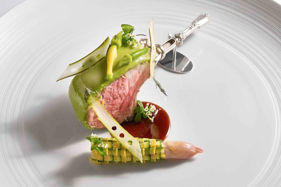 Per Se's Elysian Fields duckling lamb, white asparagus and squash
