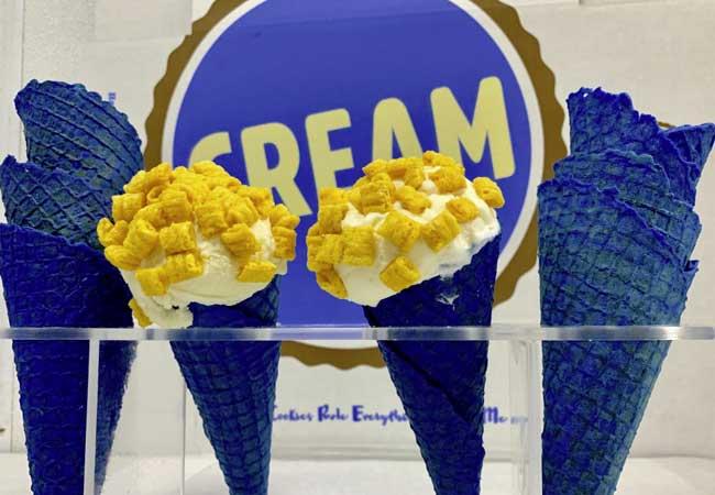 Rams-inspired blue ice cream cone at CREAM