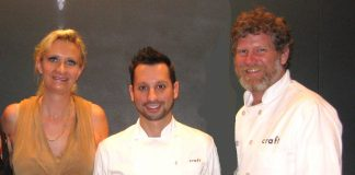 Craft Los Angeles chefs Anthony Zappola and Shannon Swindle with Sophie Gayot