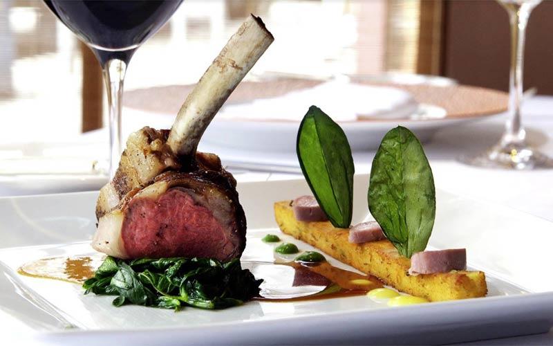 La Folie: Emigh Farm lamb rack, fava leaves, green garlic panisse, Meyer lemon purée, lamb jus