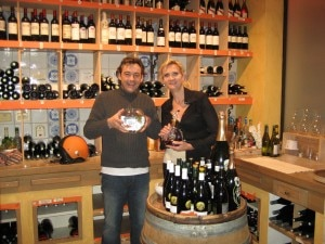 Gilles Epie and Sophie Gayot in the wine cellar