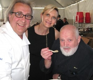Michel Richard tasting Jean Joho's perfect risotto with Sophie Gayot