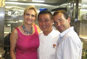 Master chef Nobu Matsuhisa; Richie Notar, Managing Partner of Nobu with Sophie Gayot