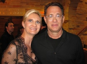 Tom Hanks with Sophie Gayot after the reading of The Comedy of Errors