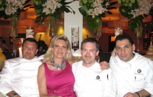 Chefs Laurent Tourondel, Brian Moyers, Christophe Bellanca with Sophie Gayot