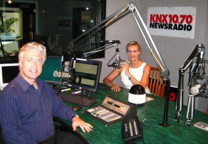 Frank Mottek in the KNX1070 studios with Sophie Gayot
