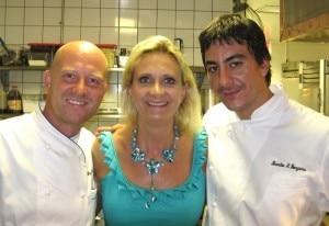 Chef Stefan Richter with chef de cuisine Leandro Bongarra with Sophie Gayot