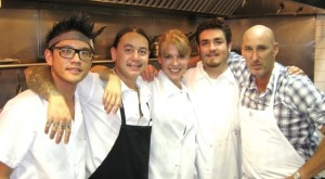 Chef/owner Marc Gold (right) of Eva Restaurant and his kitchen team