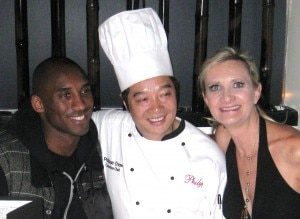 Kobe Bryant with chef Philippe Chow and Sophie Gayot
