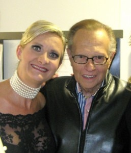 Larry King with Sophie Gayot at the opening of Thomas Keller's Bouchon in Beverly Hills