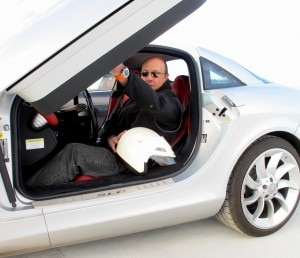 Alain Gayot getting ready to break the speed barrier with the Mercedes-Benz SLR McLaren