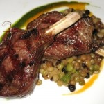 Abbacchio Allo Scottadito lamb chops with Sardinian fregola, pimenton & mint pesto