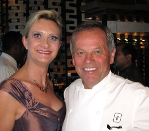 Chef Wolfgang Puck with Sopheie Gayot at the opening of WP24 at The Ritz Carlton Downtown Los Angeles
