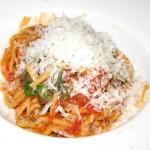 Spaghetti Alla Chitarra with San Marzano tomato sauce, peperoncino & basil