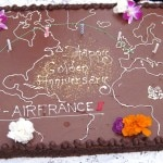 "The birthday cake, made by Yvan Valentin, Ganache ""fondante"" made with dark and milk chocolate and a flaky hazelnut praline gianduja"