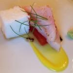 Pacific yellowtail, sashimi style with soy-watermelon, sea sponge and smoked egg yolk