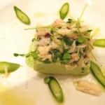 Il Grano: Fava panacotta, dungeness crab, English pea-fava & Sacramento Delta asparagus