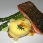 Columbia River king salmon with asparagus and a poached egg