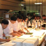 In the kitchen at Water Grill restaurant