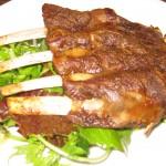 Lamb ribs with mint & hummus