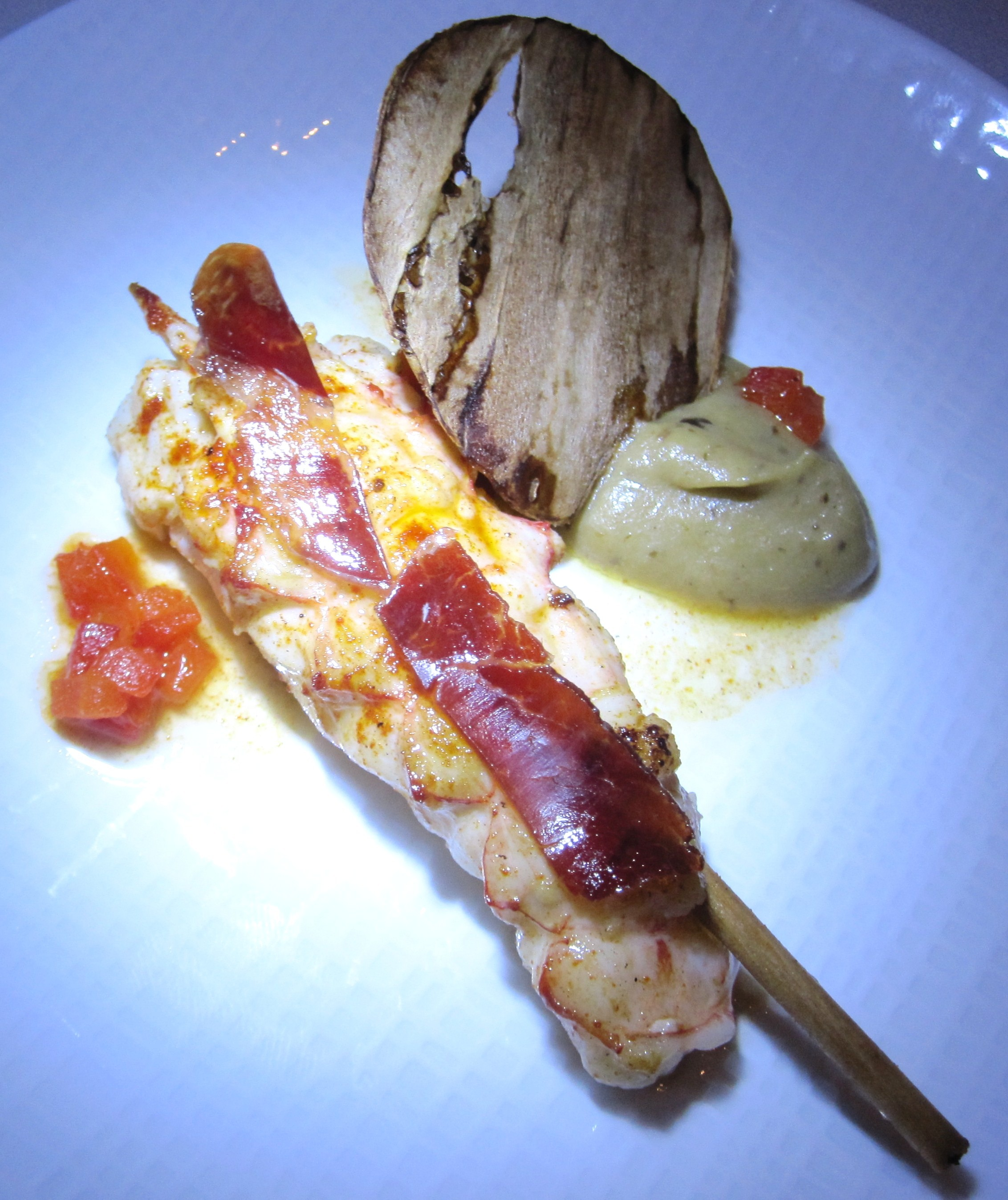 Seared langoustine with Iberico ham and bell pepper