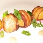 Bacon-wrapped matzoh balls with horseradish mayonnaise