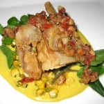 Maryland soft shell crab with grilled sweet corn and bacon tomato vinaigrette