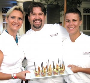 Chef Rory Herrmann, sous-chef Katie Hagan-Whelchel from Bouchon Beverly Hills with Sophie Gayot