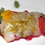 Tai snapper sashimi with green tea and blood orange