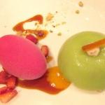Valentino: Sicilian ricotta cassata with prickly pear sorbet