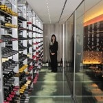 Wine director Julie Lin in the wine tower