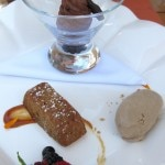 Duet of chocolate mousse & yogurt and oatmeal cake with berries