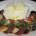 Heirloom tomato & fresh peach with Cube imported buffalo mozzarella, aged balsamic parco dei buoi olive oil and basil