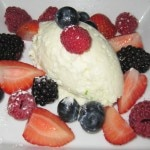 White chocolate and lime mousse with market berries