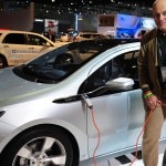 Alain Gayot getting a closer look at the Chevrolet Volt plug-in