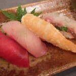An array of colorful sushi from chef Nobu