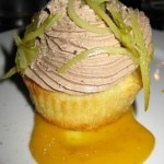 Cheese cupcake with chicken liver mousse, kumquats and cornichon
