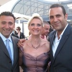 SBE president Arash Azarbarzin and SBE Founder & CEO Sam Nazarian with Sophie Gayot