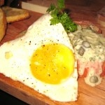 Smoked salmon terrine, fried egg and sauce gribiche