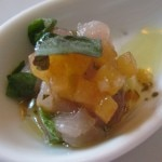 Hamachi ceviche with nectarines and micro shiso