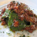 Green summer pasta with veal meat tomato sauce