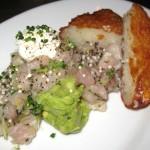 Dashi marinated yellowtail with avocado, hash brown and tonburi